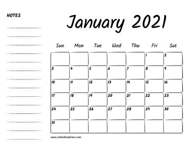 January 2021 Printable Calendar - Calendar Options