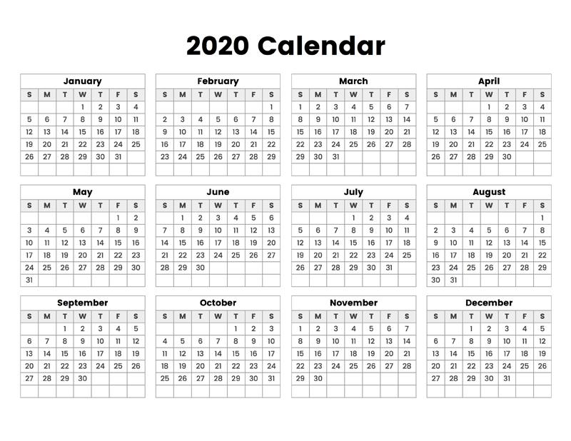 2020 Calendar – Calendar Options