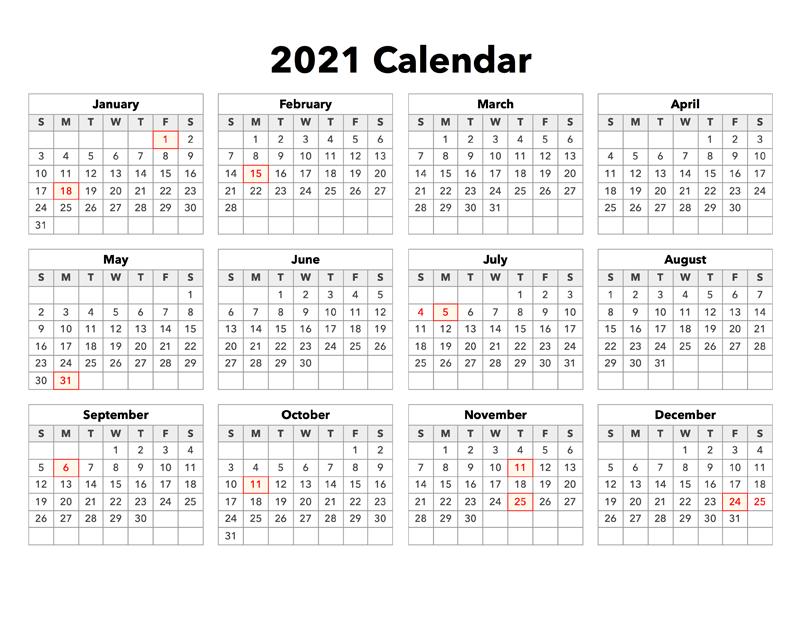 2021 Calendar With Holidays - Calendar Options