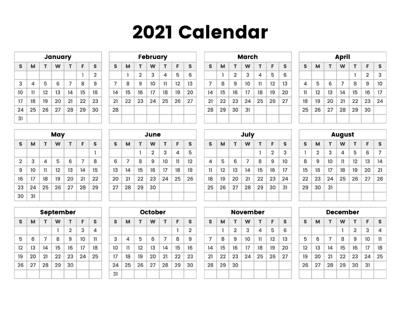 Simple Calendar 2021 Wallpaper