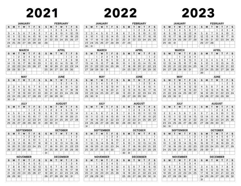 3 Year Calendar 2021 to 2023 – Calendar Options