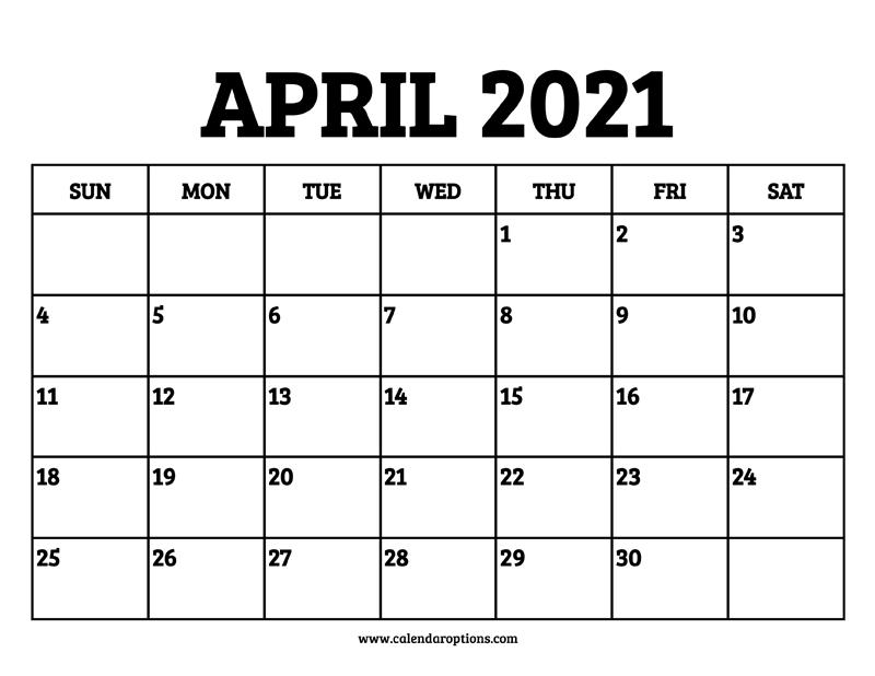 April 2021 Calendar Printable - Calendar Options