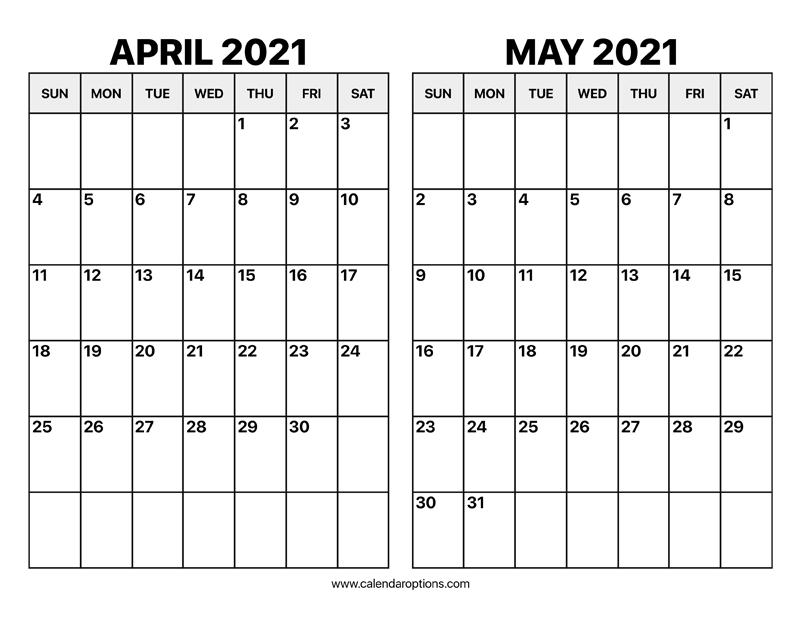 April and May 2021 Calendar – Calendar Options