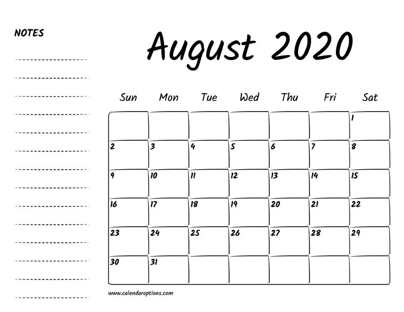 Printable Calendar August 2020.August 2020 Printable Calendar Calendar Options