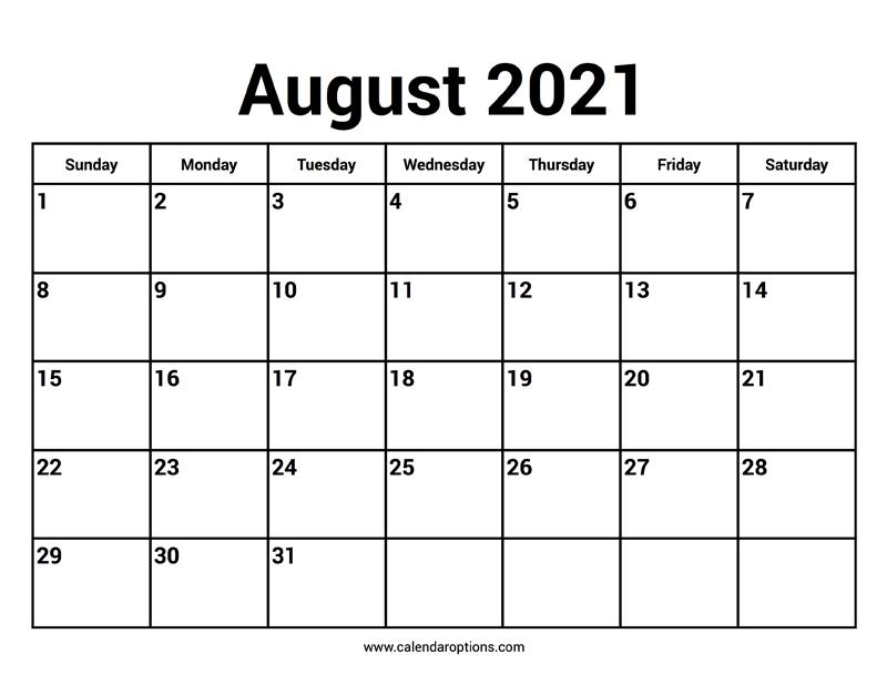 August 2021 Calendar - Calendar Options