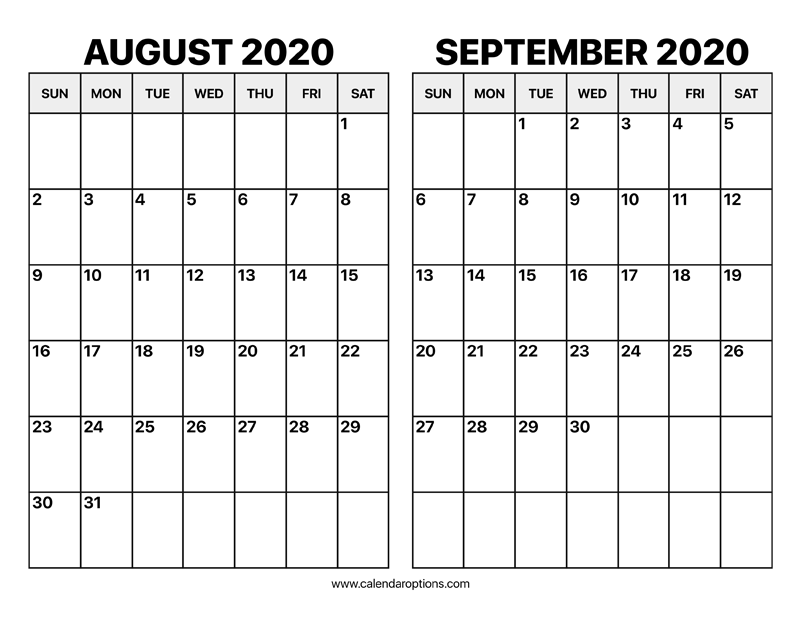 August And September 2020 Calendar Calendar Options