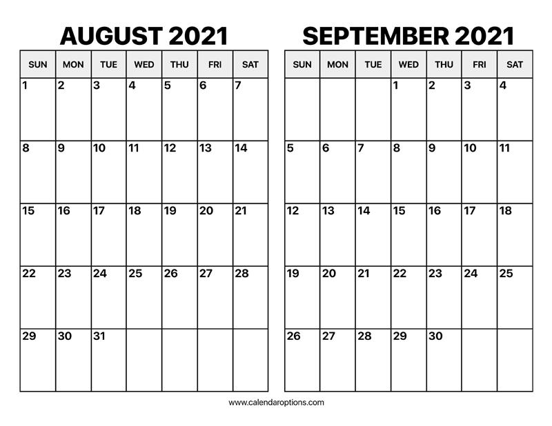 August And September 2021 Calendar - Calendar Options