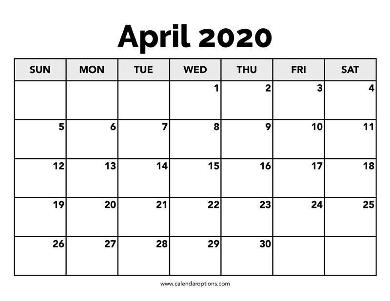 calender for april 2020
