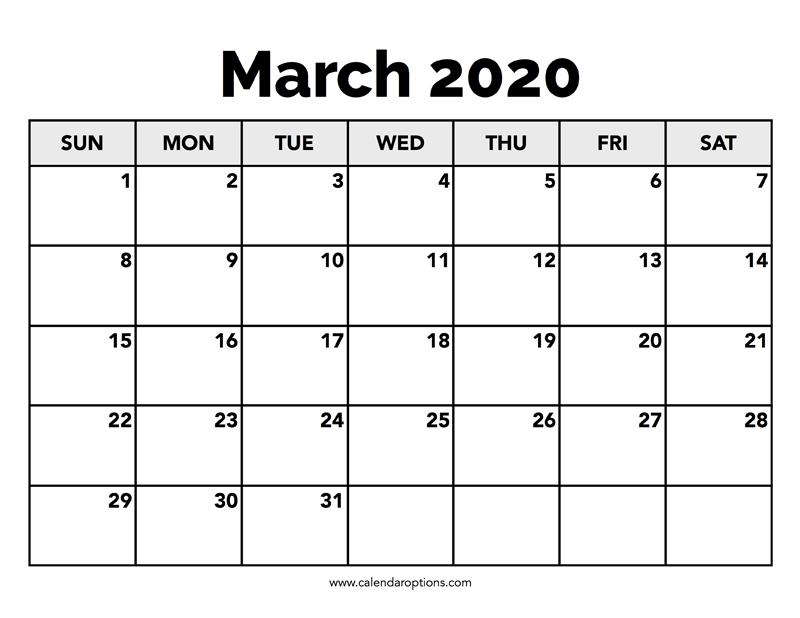 Calendar March 2020 – Calendar Options