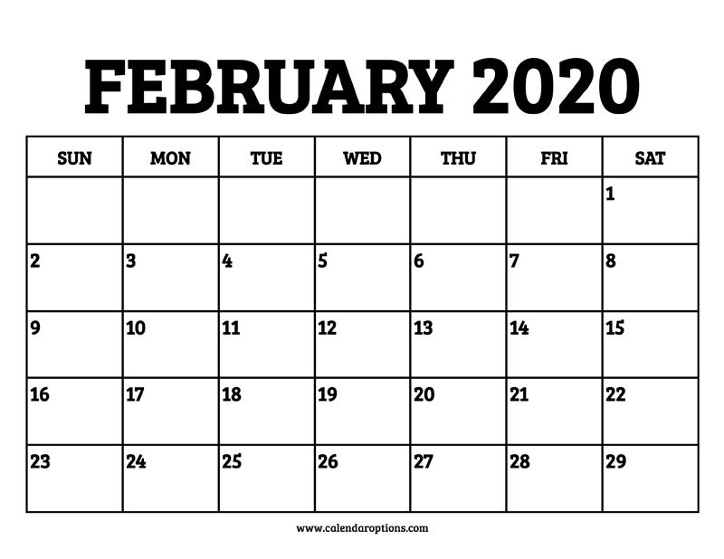 2020 February Calendar Printable.February 2020 Calendar Printable Calendar Options