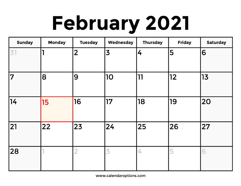 February 2021 Calendar With Holidays - Calendar Options