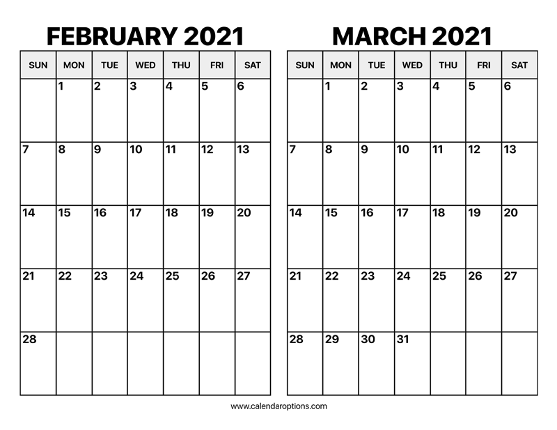 February And March 2021 Calendar - Calendar Options