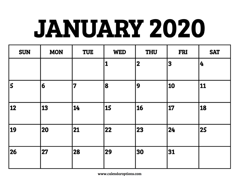 January 2020 Calendar Printable.January 2020 Calendar Printable Calendar Options