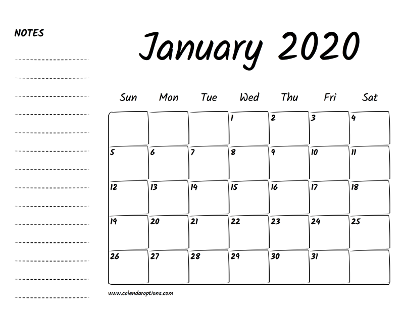January 2020 Calendar Printable.January 2020 Printable Calendar Calendar Options