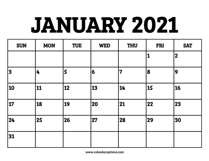 January 2021 Calendar Printable - Calendar Options