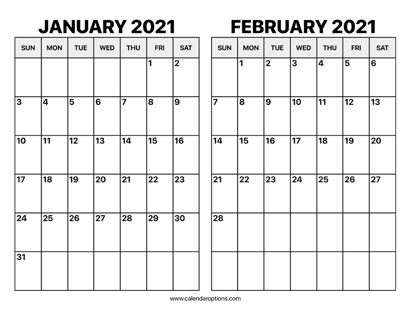 January And February Calendar 2021 Images