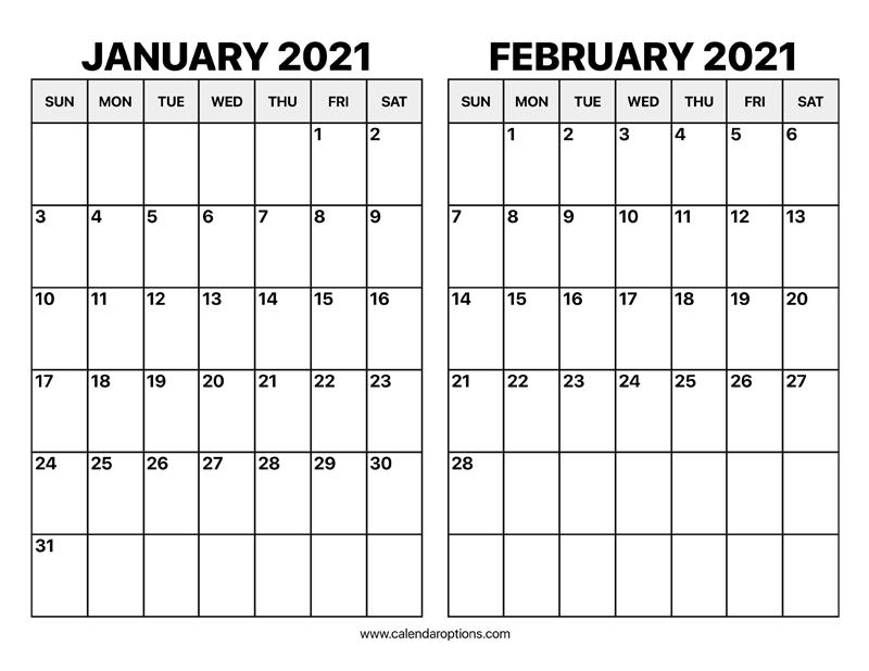 January And February 2021 Calendar – Calendar Options