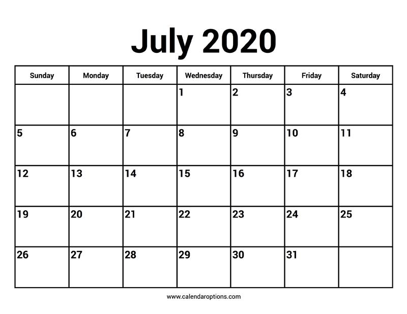 Printable Calendar June 2020.July 2020 Calendar Calendar Options