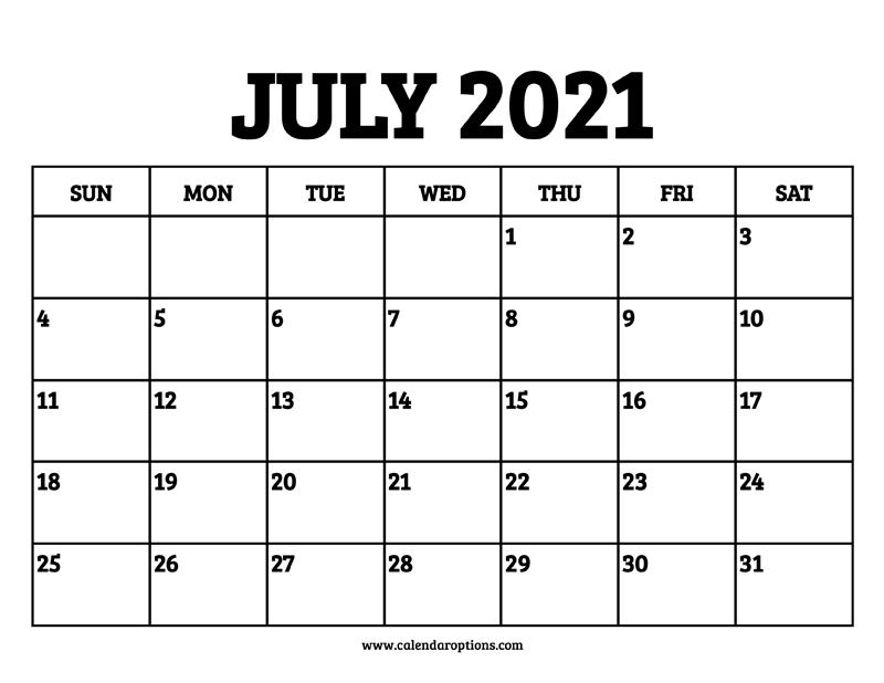 July 2021 Calendar Printable - Calendar Options