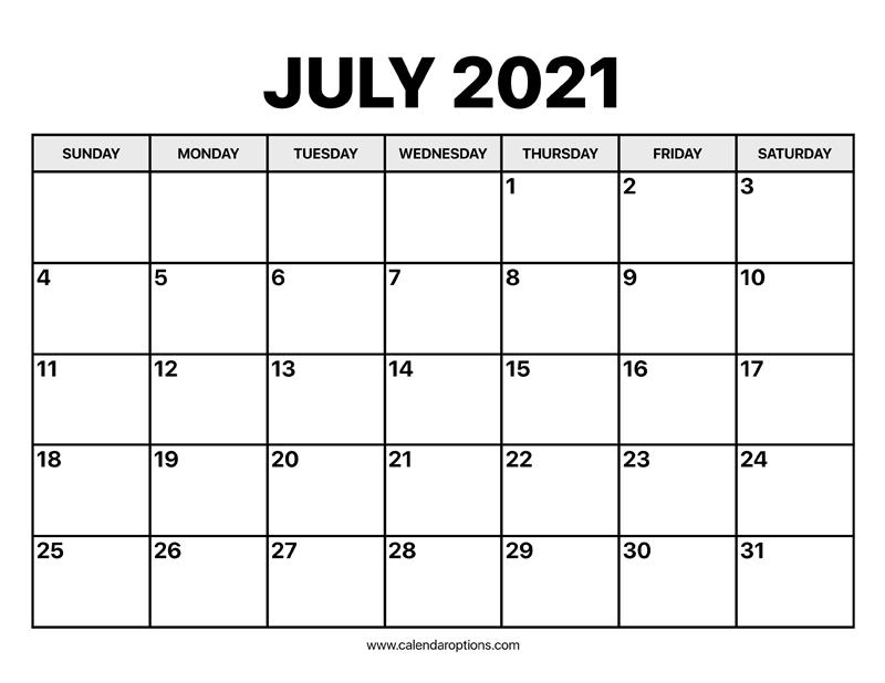 Calendar 2021 July July Calendar 2021 – Calendar Options