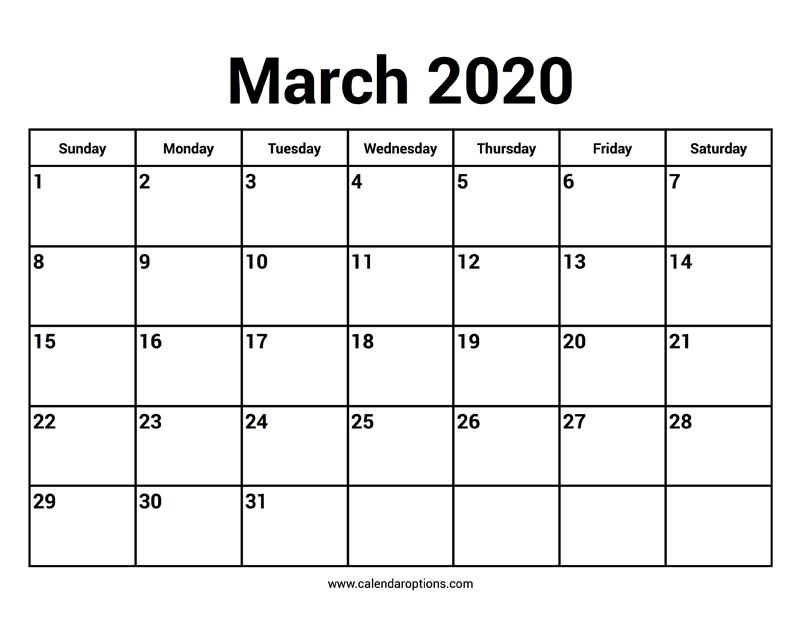 Calendar Options March 2020 Calendars – Calendar Options