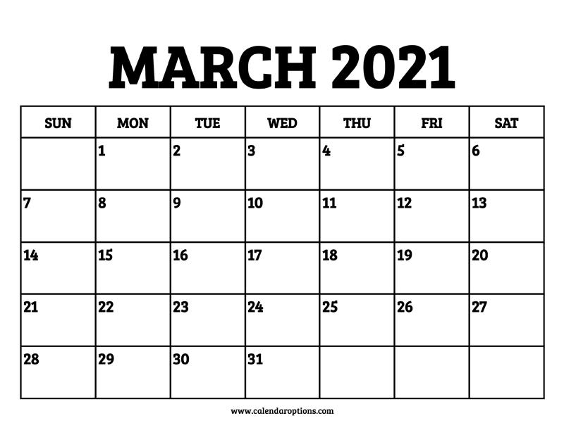 March 2021 Calendar Printable - Calendar Options