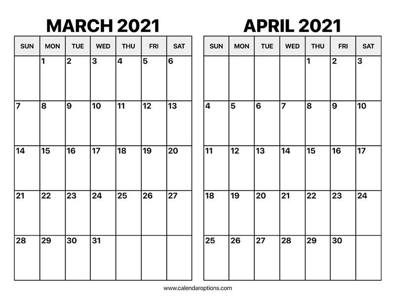 March and April 2021 Calendar – Calendar Options