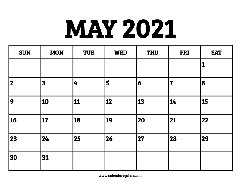 May 2021 Calendar Printable - Calendar Options