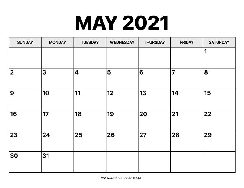 May Calendar 2021 - Calendar Options
