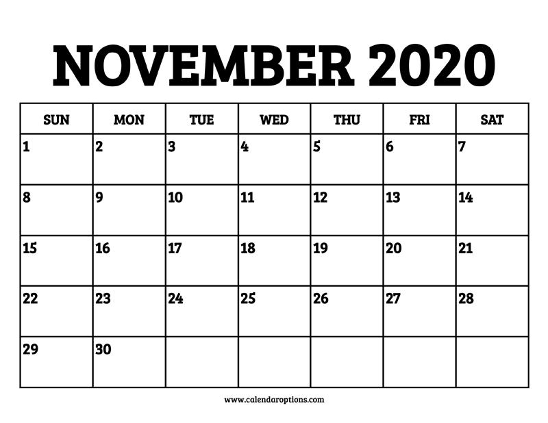 November Calendar 2020 Printable.November 2020 Calendar Printable Calendar Options