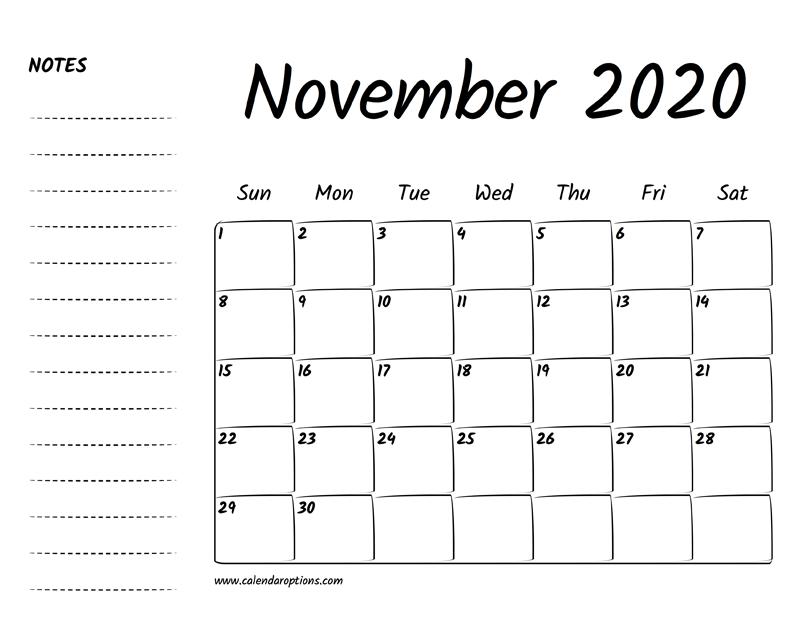 November Calendar 2020 Printable.November 2020 Printable Calendar Calendar Options