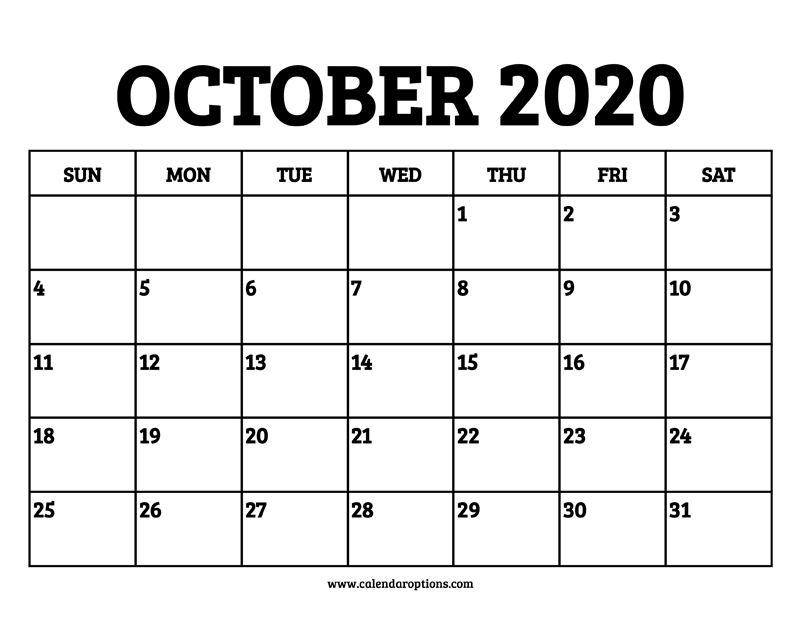 Printable Calendar October 2020.October 2020 Calendar Printable Calendar Options