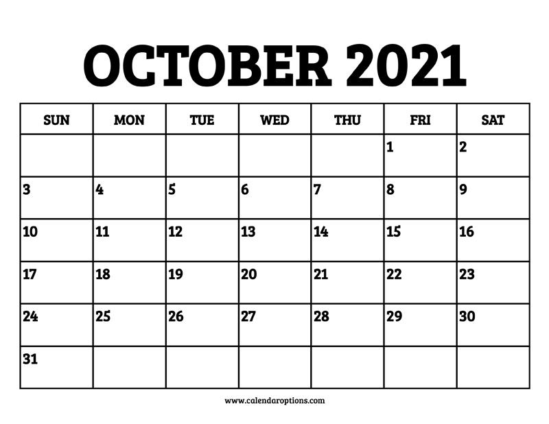 October, 2021 Calendar Pictures