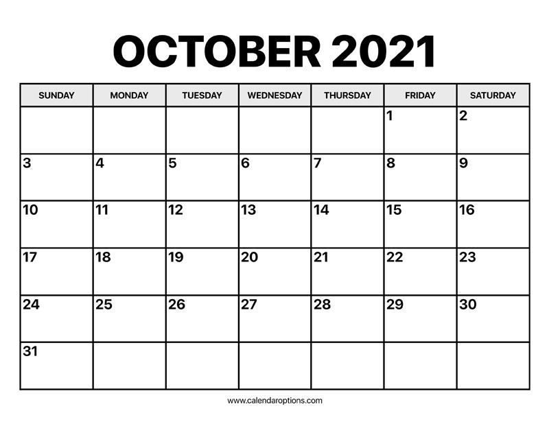 October Calendar 2021 - Calendar Options