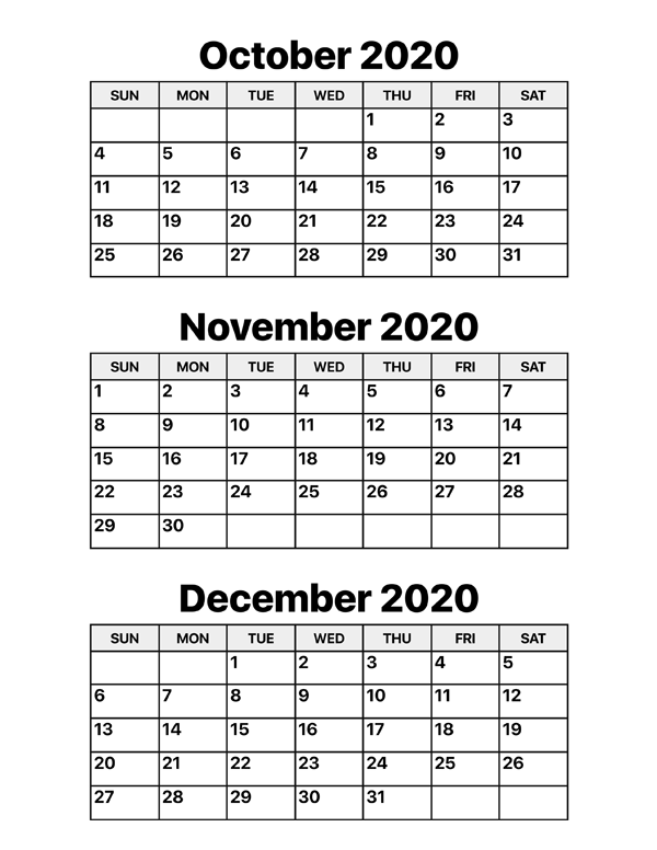 October November And December 2020 Calendar Calendar Options
