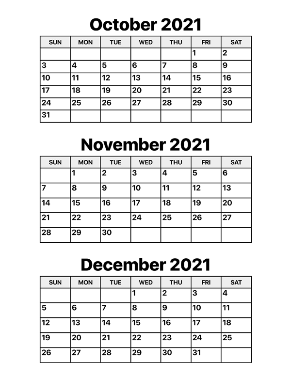 October, November and December 2021 Calendar – Calendar Options