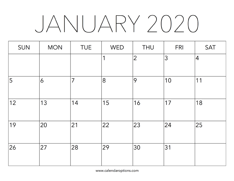January 2020 Calendar Printable.Printable January 2020 Calendar Calendar Options