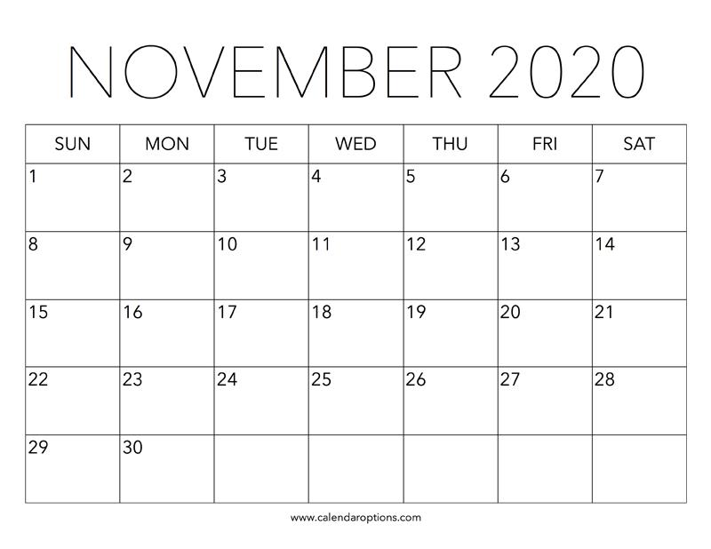 november calendar for 2020