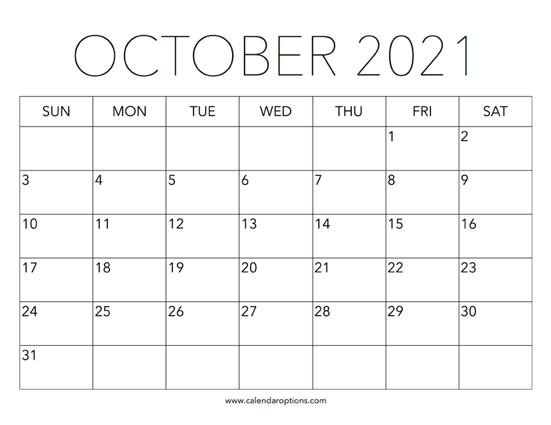 Printable October 2021 Calendar - Calendar Options