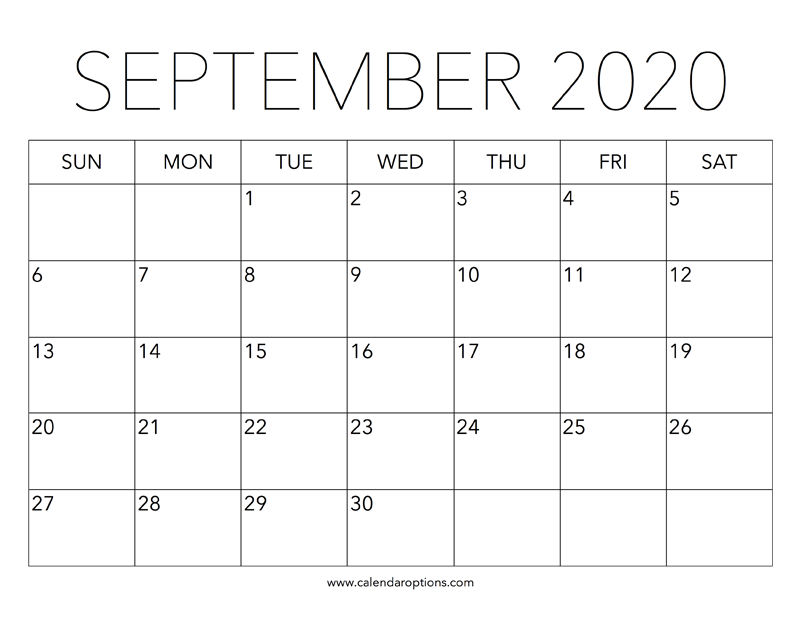 september printable calendar 2020
