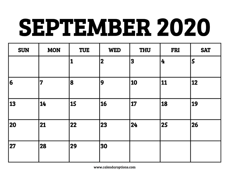 September Calendar 2020 Printable.September 2020 Calendar Printable Calendar Options