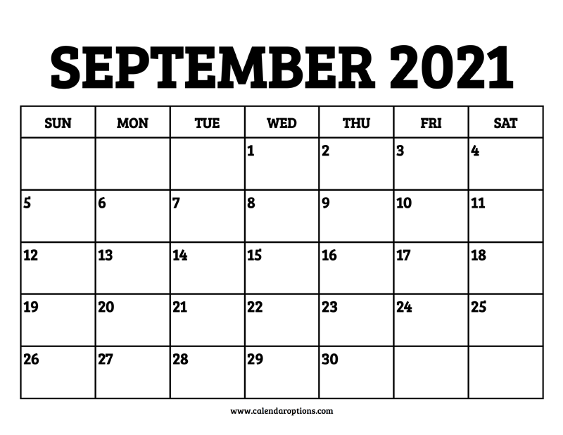 September 2021 Calendar Printable - Calendar Options