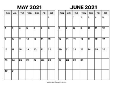 May And June 2021 Calendar - Calendar Options