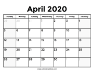 April 2020 Calendar – Calendar Options