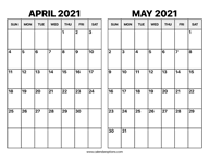 May And June 2021 Calendar Calendar Options